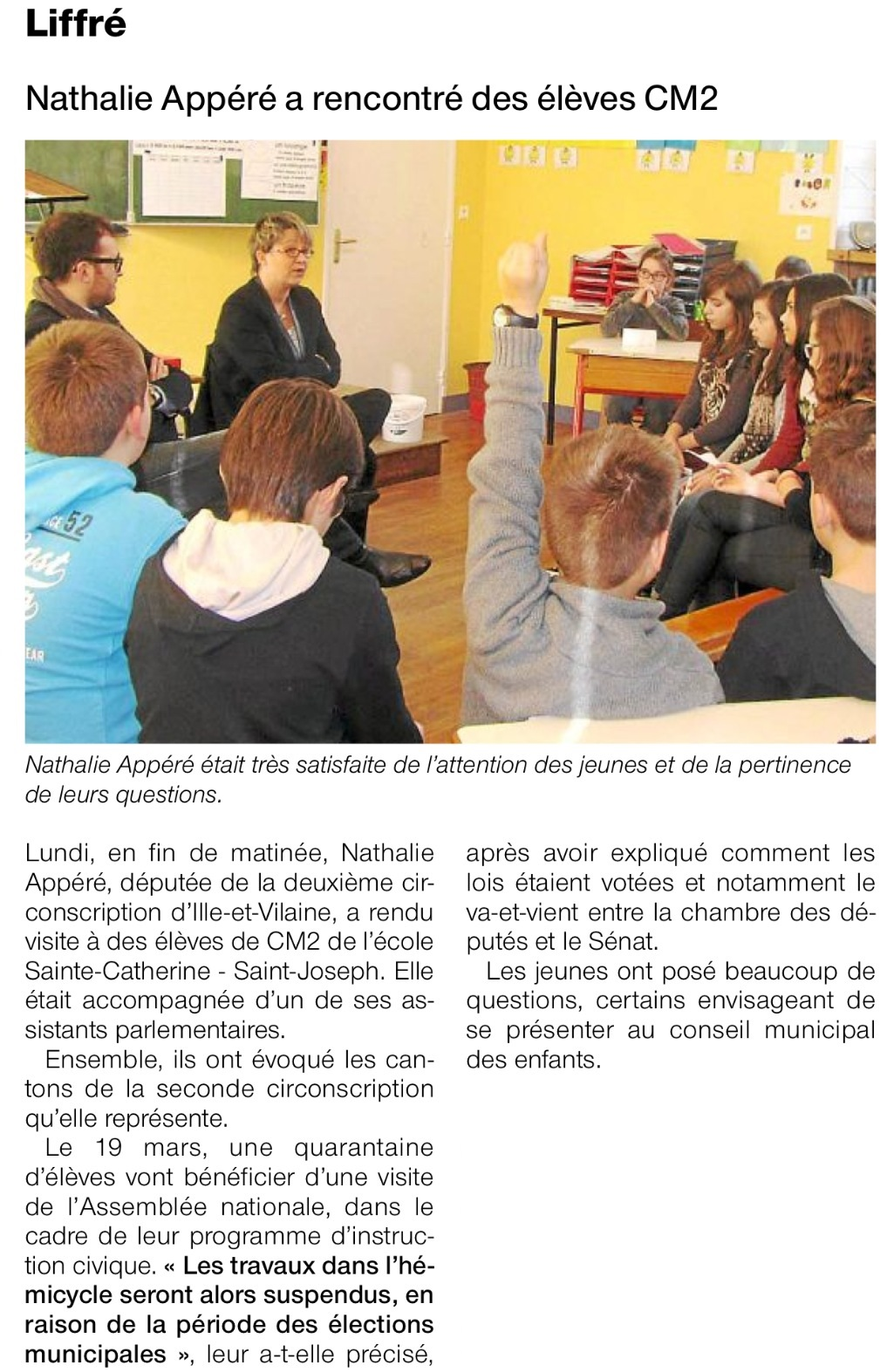 Article OF intervention école Liffre
