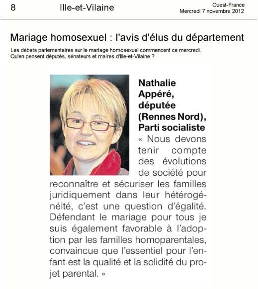 Communique Sur Le Mariage Pour Tous Dans Ouest France Nathalie Appere
