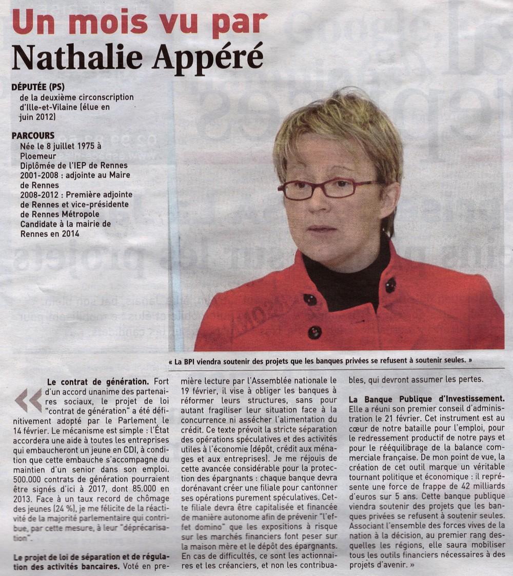 201303 - Journal des entreprises - Un mois vu par Nathalie Appéré
